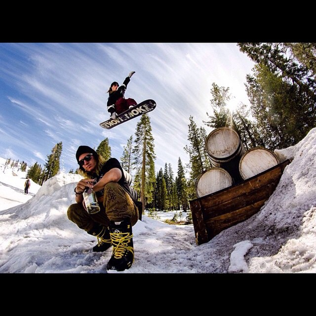The end of the season was strong @borealmtn this season @matt_busedu frontside over the barrels and the homies #goodtimes #forridersbyriders #handmadelaketahoe #weareok