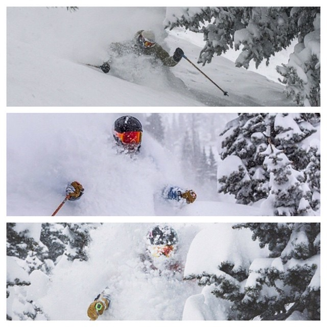 Flylow's @sanderhadley @extreme_rihm and @hannahfo totally pitted out in Utah yesterday. Winter is back. #embracethestorm