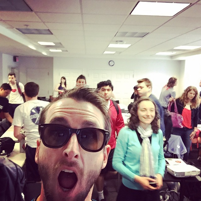 Waveborn #ceo just taught a class of 40 undergrads about #entrepreneurship and starting a #sunglasses company #waveborn #umd #welfie