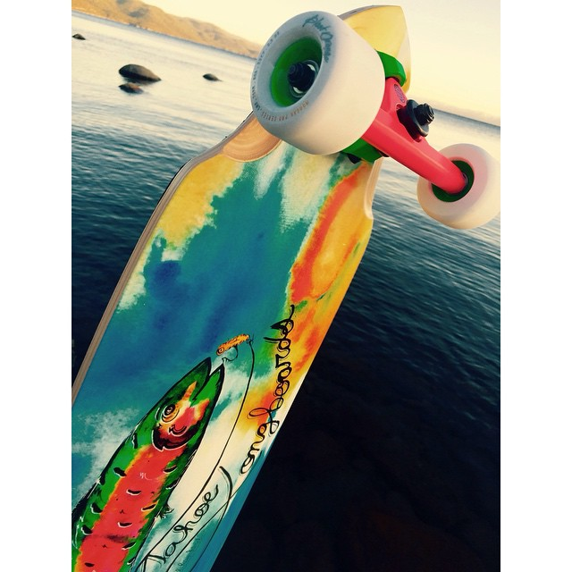 The guys over at @tahoelongboards are enjoying the fair weather on this fresh setup featuring out Acid Melon trucks!