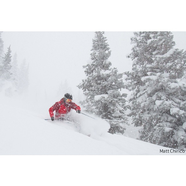 Throwing it back to yesterday, taking a few breathes before diving back down into the ridiculously deep powder. A few hours filled with face shots makes for a hell of a study break | PC: @mattchirico