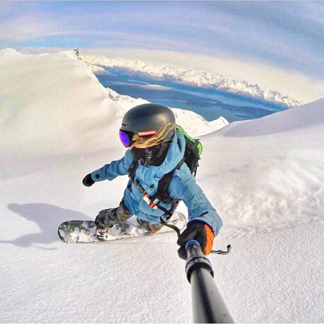 @erikathevikingvikander taking full advantage of her time in #Alaska . Beautiful #selfie taken yesterday on some heli laps provided by @seabaheli . #Haines #AK #LifeIsGood #MountainGirls #Shredbetties #GoPro