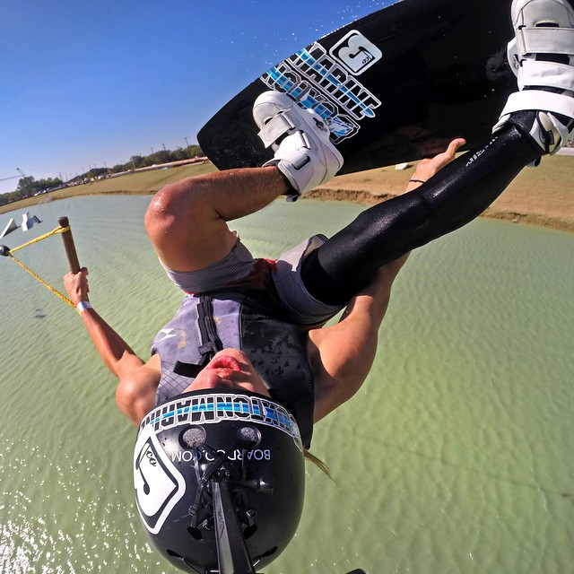 @seanweidner grabbing stalefish at Hydrous Wake Park in Little Elm, Texas. GoPro HERO4 | GoPole Arm #gopro #gopole #gopolearm #wakeboarding