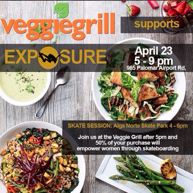 Next week, join us for some #skateboarding and a #delicious meal! Thursday, April 24 we will skate Alga Norte in Carlsbad and then eat at @veggiegrill . Eat with us, bring your friends and this flyer and 50% of proceeds from your meal will help...