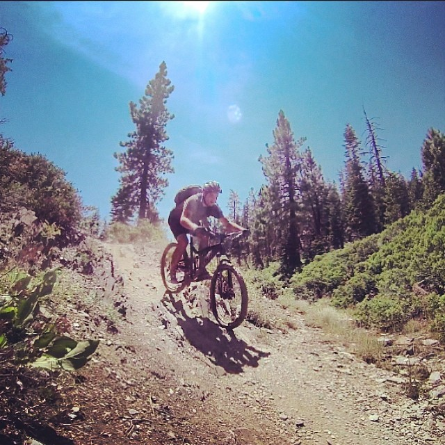 Melancholy is incompatible with bicycling. ~James E. Starrs (@langdonmoss looking happy!) #downieville #mtb @santacruzbicycles
