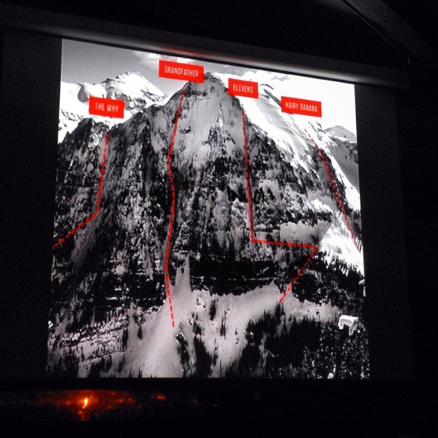 Inspired and impressed by Kim Havell's expeditions and stories of #mountain friendships. @kimhavell speaking at @alpenglowsports #winter slideshow series @squawvalley. #sisterswhoshred