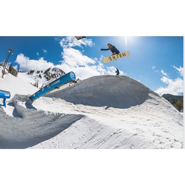 Here's a shot of Tristin Heiner aka @touchaheiney aka 'the White Dread' from day one at The Launch, brought to courtesy of @snowboardermag and @MammothMountain...just in time to get ya stoked for some weekend boardin'! photo by living SLC legend @e_stone