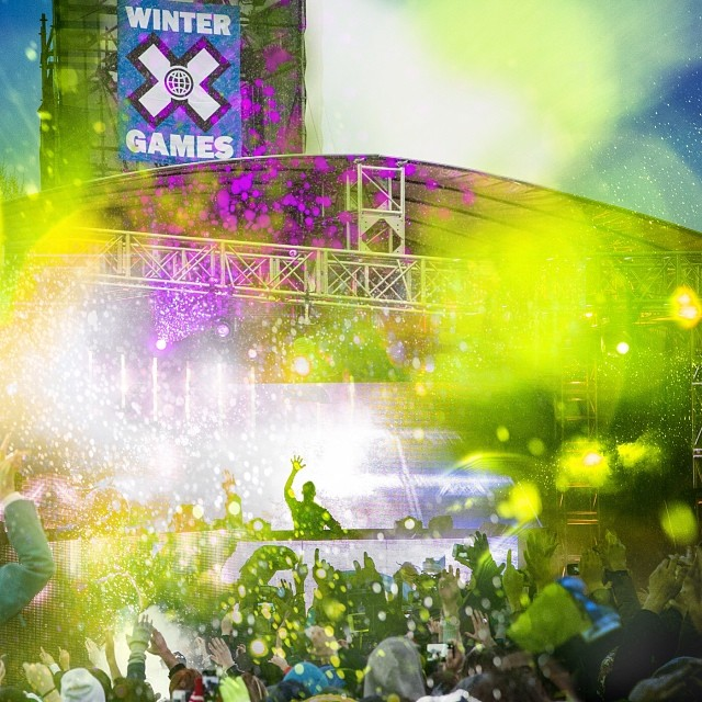 Coming up this year @mattandkim  @wearephoenix @axwell @tiesto on stage at #xgames Aspen. Get tickets at bellyupaspen.com/Xgames. Photo compliments of @aspensnowmass !