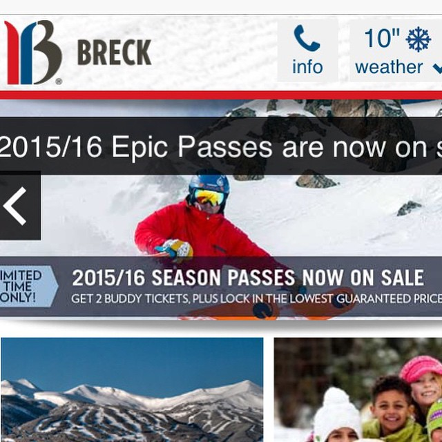 @breckenridgemtn homepage... #orangehotness #kiwi #peak6 they go together like milk and cookies @d.r.e.w.rouse #colorado #powder #steep #skiing #madeinhouse