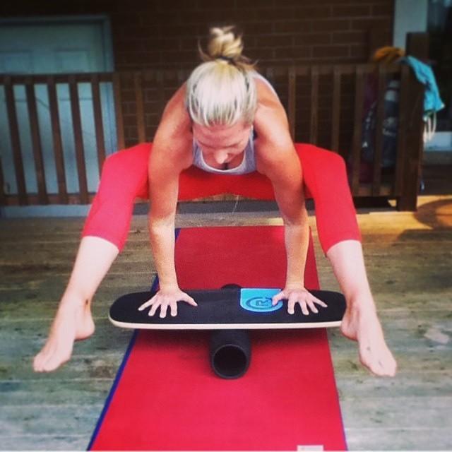 Yoga guru Sarah making this look easy and it's not! #revbalance #findyourbalance #balanceboards #train #corework #boardsports #gym #workhard #balance #namaste #yoga #core #corework #wod #workhardplayhard #getyourbalance #madeinusa