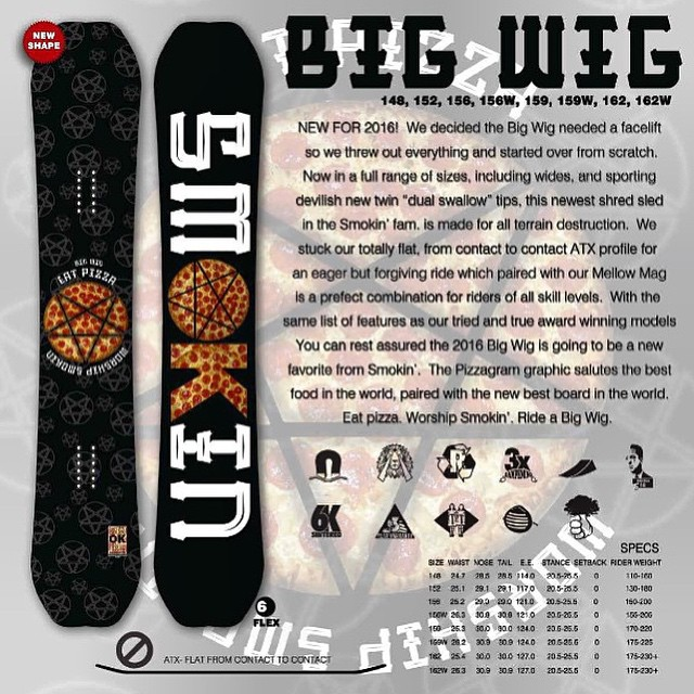 New board for next season #BigWig , #ATX #Flat #regularand wide #forridersbyriders #handmadelaketahoe #3yearwarranty #horngrab #weareok