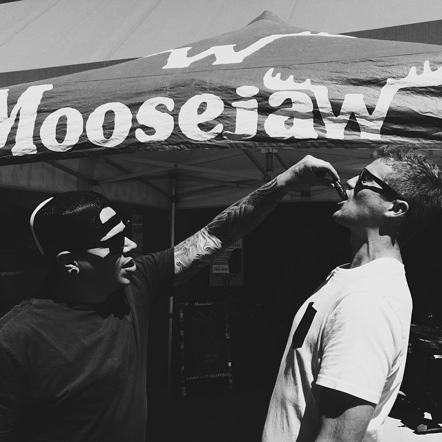 Attention Colorado peeps, we're at the @moosejawmadness store in Birmingham, Michigan slanging packs, eating hot dawgs and drinking beer. Come join, we'll be here for a little while longer. Here's a picture of Casey hand feeding one of Detroits...