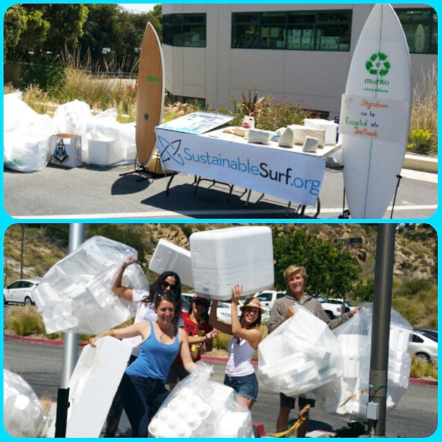 Epic haul of styrofoam collected at the Malibu Earth Day festival. Lots of stoked people and kids donating their waste foam to be recycled with Waste to Waves. Thanks to @markofoamblanks for making such a killer recycled styrofoam surfboard blank, and...