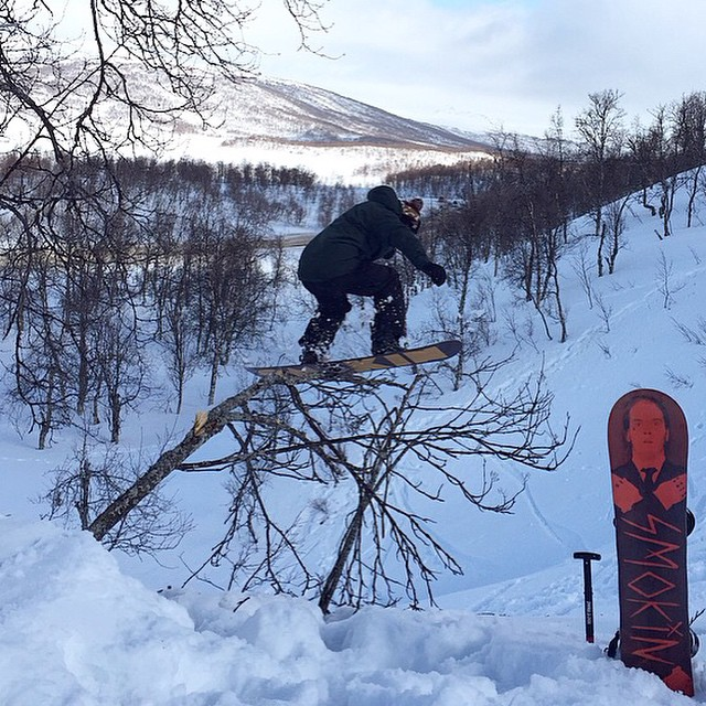 Our European posse #Eric from @randombastards holding it down in Norway with this tree jib on his #Hooligan board