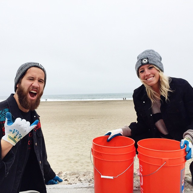 Kinda Fancy clean up crew! Fillin up buckets at OB for Earth Day! #colinhasabighead #probablycuzhessosmart #probablynot