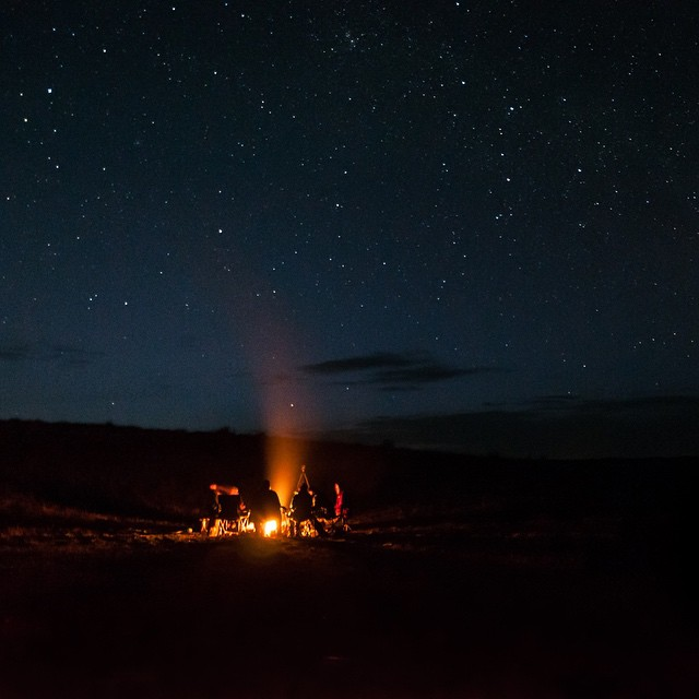 There's not many things better than a campfire, good friends and a starry sky. The #ASCLandmark crew spent a night this week camped at Timber Creek for closer access to sage grouse leks in the morning. (Photo by Elaine Kennedy)