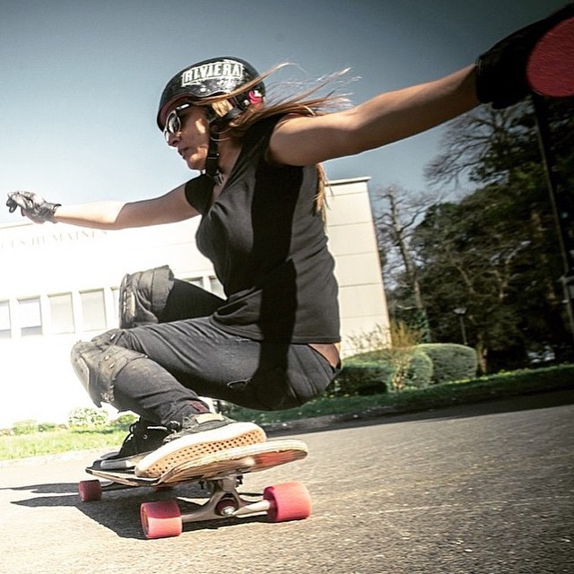 @lgcfrance Ambassador @tahina_m squatting. @julien_leger photo.  #longboardgirlscrew #womensupportingwomen #girlswhoshred #tahinamiault #france #lgcfrance