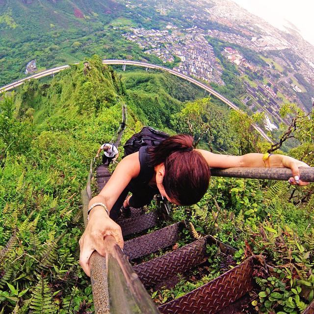 Hiking the Haiku Stairs aka Stairway to Heaven. Photo: @janemoon #gopro #gopole #gopoleevo #hawaii