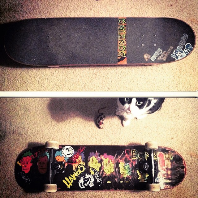 Team rider Michael Carson--@mcarsonlikescats thrashing the new Face Melt Street deck!  #michaelcarson #bonzing #streetdeck #ape