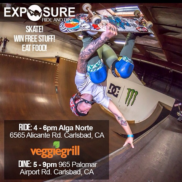 THIS THURSDAY! Like #free #skateboards? #Skating? #Food? Come hang with us! 4-6pm at Alga Norte #Skatepark and #eat at @veggiegrill between 5-9 and if you mention EXPOSURE, 50% Of proceeds from your meal will help #empower #women through skateboarding!...