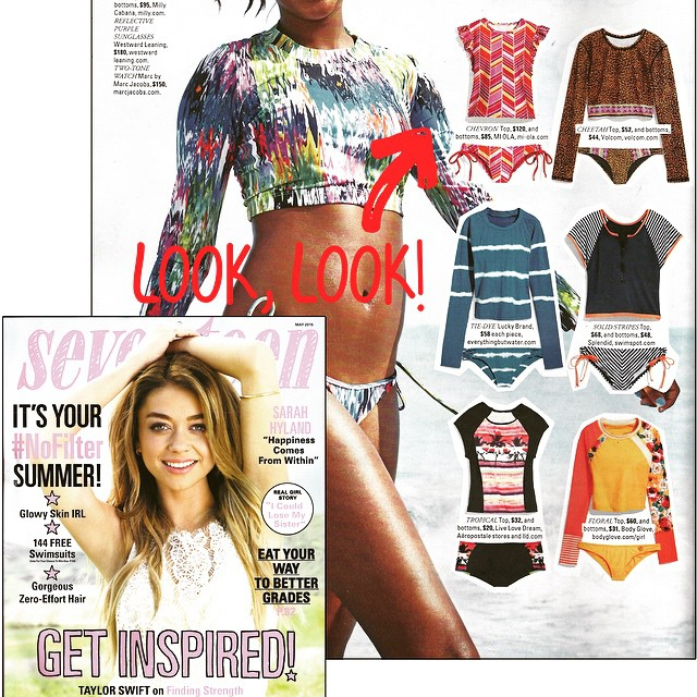 Woot woot!! On stands today, MI OLA's Ruffles Rashie & Double String Bottom are featured in the May issue of @seventeen! Thanks for the love, Seventeen Magazine :) #getoutthere #stoked #honored #thrilled #happy #blessed #miolainthenews #onstandsnow...