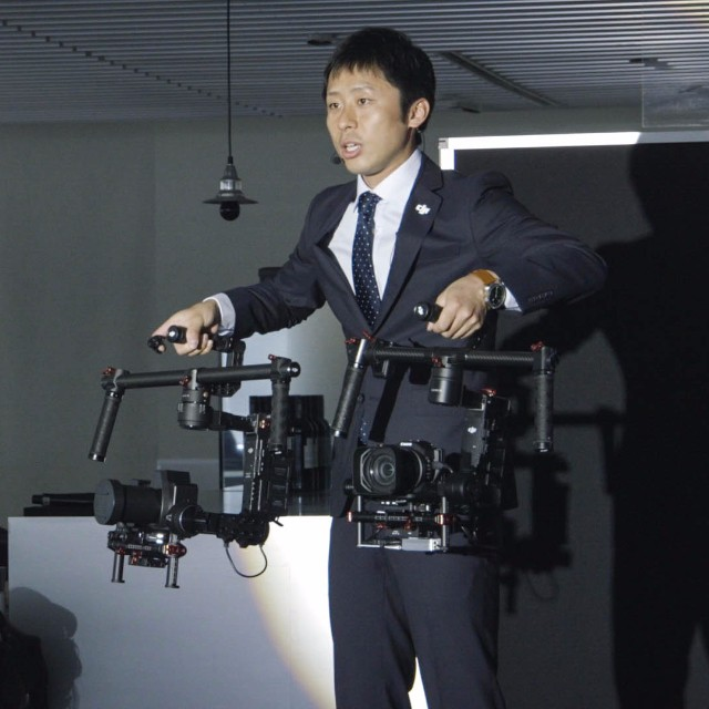 Can you guess which is which?  #DJI presenter at a recent #Japan event showcasing both #aerial innovation with the #Phantom3 and on ground technology with the #Ronin and #RoninM.