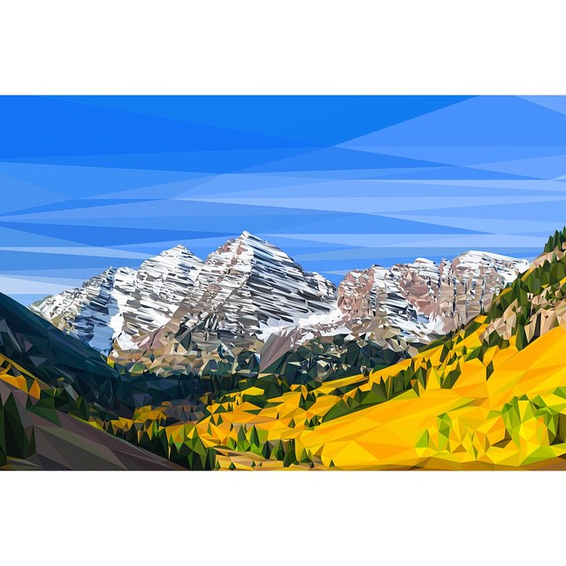 "Maroon Bells Polyrado Poster Giveaway!  Tag your friends for your chance to win a 36""x24"" poster ($50 value). Created by hand using over 12,000 triangles, taking 250+ hours... worth the wait. #kinddesign #maroonbells #colorado #polyrado #madeinUSA ..."