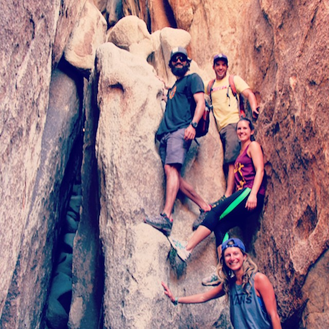 Weekend Adventure Squad @mcelberts @jvlofaro @wandering_iowan #joshuatree #findyourpark #nationalparkweek #climbing #camping #campvibes #california #adventureoften #adventure #lategram #nationalparkweek