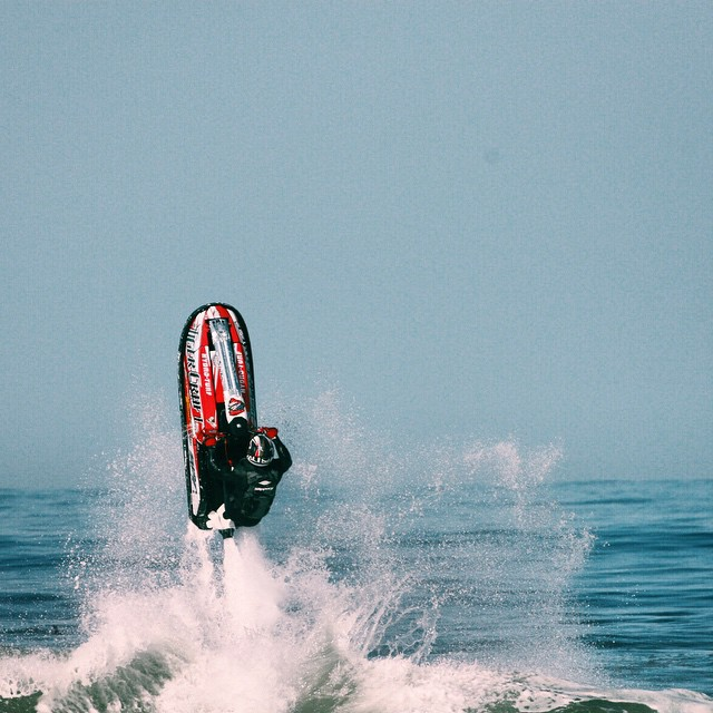 Flipping a jet ski is about the gnarliest thing we can think of!  Here's a shot of Coung Son getting it done in a Kali Avatar off the California Coast.  #JetSki #Waverunner #SeaDoo