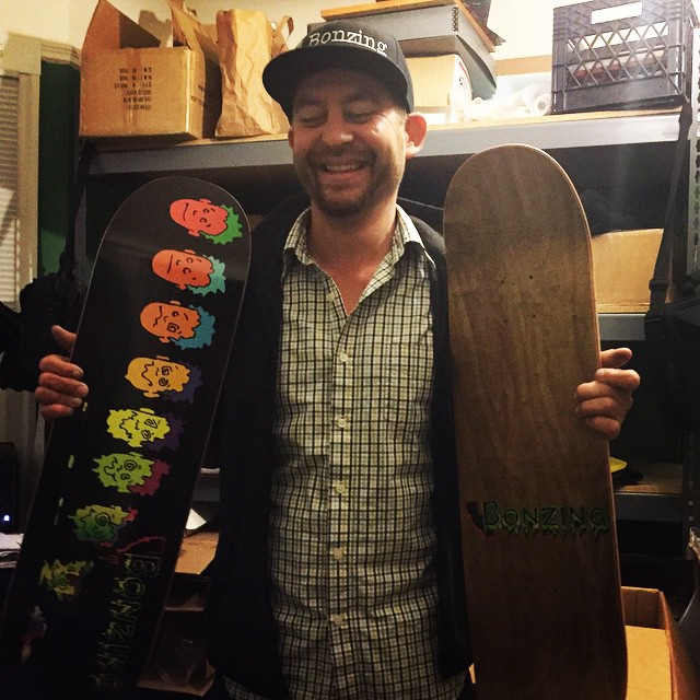 The artist for the Face Melt Street deck, Brian Masterson, is in the Bonzing office and seeing the deck for the first time! He is fully Bonzed!  #brianmasterson #bonzing #facemelt #streetskateboard #sanfrancisco #skateboard #shapers #artists