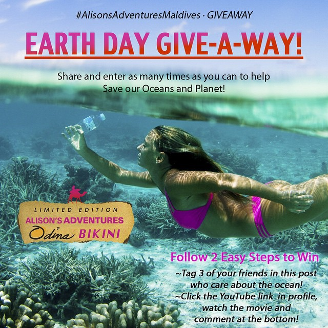 In honor of Earth Day tomorrow @odinasurf and I are giving away a BIKINI made from recycled plastic bottles! They are silky soft, sexy and I surf (and practically live in them) everyday!  TWO STEPS TO WIN:  #1) tag 3 friends  #2) click the link in my...