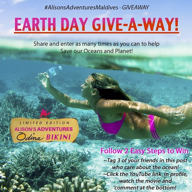 In honor of #Earthday and the conservation of our planet tomorrow April 22 @alisonsadventures and Odina have teamed up to do a give away a limited Edition #Bikini made from ♻️ recycled plastic! Our new Kalinda Top and Boho Short Bottoms in Pink! Two of...