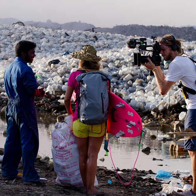 "Behind the scenes moment filming #AlisonsAdventuresMaldives with cinematographer @marktipple  The man I'm taking to is named Rajeesh...he lives on ""Trash Island"" and this is his front yard - plastic from all over the world brought to the island by..."