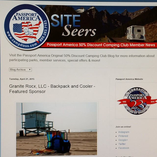 We were featured on @passportamerica this week!  Check out their website and blog to see the full article. #camping #campgound #rv #getoutdoors #backpacks #coolers #graniterocx