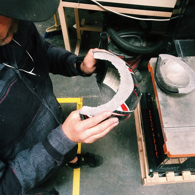We place a high value on testing - both in the lab and real world.  Here's a snap from earlier today of Kali Co-Founder and CEO Brad Waldron taking a closer look at a cross section of one of @kevinsharketti crashed helmets.