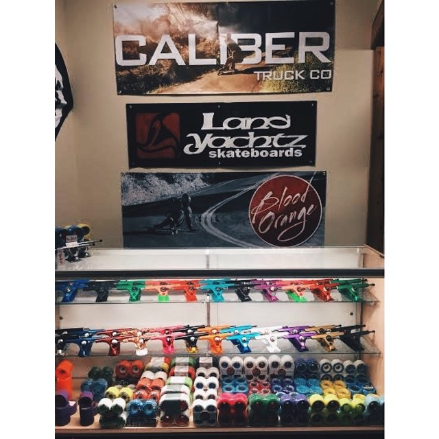 @ridefourever is fully stocked on #calibertrucks and @skatebloodorange goods! If you're ever in Lenexa, KS hit them up for all your skateboard needs!