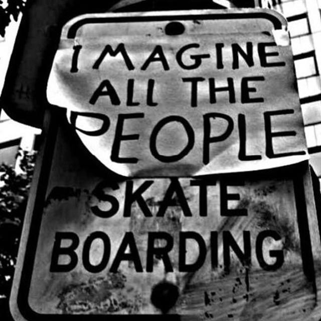 Imagine a world full of happy people on skateboards!