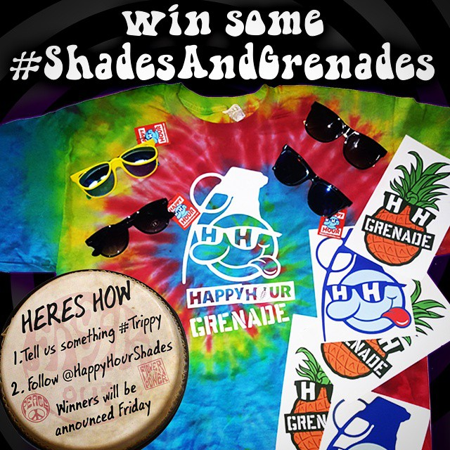 Here's how to win some #trippy @happyhourshades shades, a limited edition GRENADExHAPPYHOUR hand dyed tee, and some stickers. #shadesandgrenades  1. Write something you think is #trippy in the comments. Example: the moon is made of spaceweed and George...