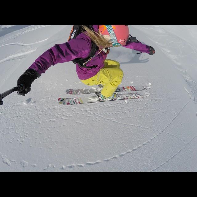 XS team rider @lynseydyer flying through the air in her own #unicornpicnic skis! Rad! #xshelmets #xsteam #girlswhoshred #ski #skatebikeboardski @gopro