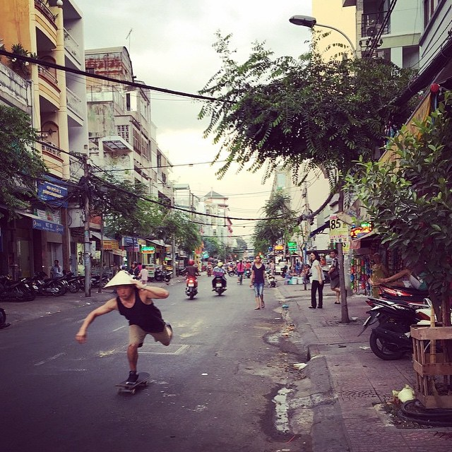 The good homie @djnagai holding it down in #Vietnam #skateboarding on #caliberstandards #georgenagai