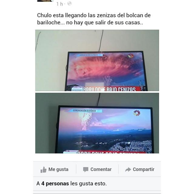 Según gente de Esquina, provincia de Corrientes, al noreste del país, informaron al chulo (noticiero local) que ya llegaron cenizas del volcán que hizo erupción en Chile.. No salgan de sus casas, cuidado las ZENIZAS!! Jajajaja