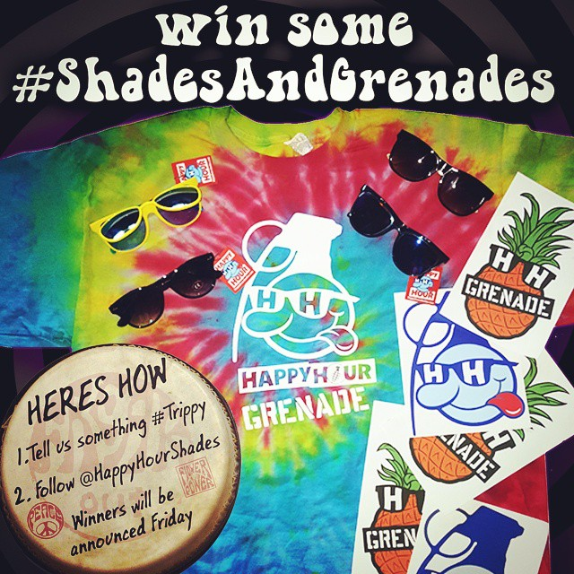 "We teamed up with @happyhourshades to bring you this #trippy prize package including a hand made GRENADExHAPPYHOUR tie dye tee. #shadesandgrenades  Heres how you win: 1. Write something you think is #trippy in the comments.  Example ""If god dropped..."