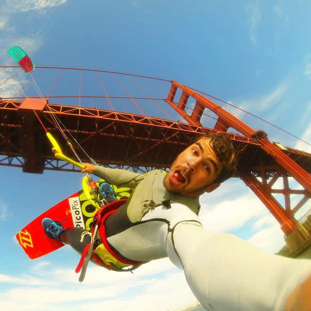 An under the Golden Gate Bridge selfie from @renoromeu. #gopro #gopole #gopolebobber #kiteboarding #goldengatebridge