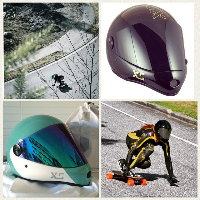 Now in stock @muirskate! Stop by to check out the XS x Predator #DH6's unique colours and smaller fit. Includes white and silver carry bag and blue mirror and clear visors! #xshelmets #predatorhelmets #muirskate #downhill #longboard.