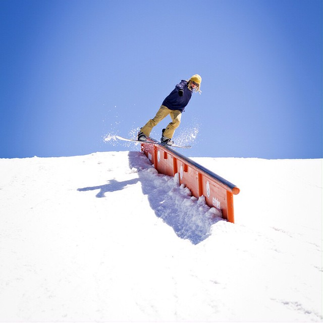 Tristin Heiner (The White Dread aka @touchaheiney) with a lonely switch blunt at #theLaunch2015 @snowboardermag @mammothmountain photo by Nathan Vetted (@vetterimages)