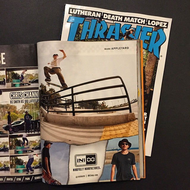 New ad in @thrashermag ft. @mark_appleyard | go out and crap a copy on shelves now. @iniskate #Skate