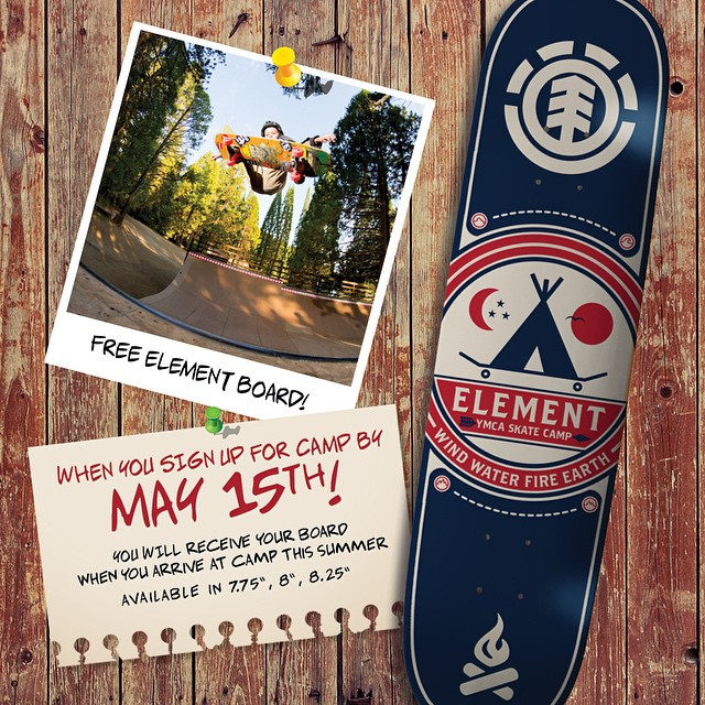 @elementskatecamp is almost here and there couldn't be a better time to register! Get a free limited edition Element board when you sign up before May 15th, head to skatecamp.org to register and see what element pros will be at your session! #skatecamp