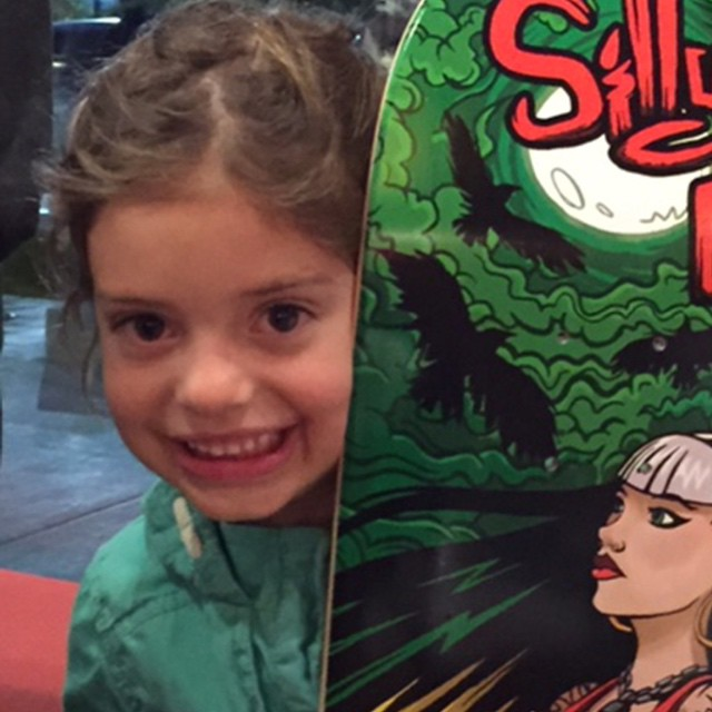 One of our very happy winners from last nights raffle! This @julzlovespoolz board put a big smile on these sweet face!