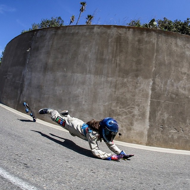 Sometimes it's skating, sometimes it's flying.  Our LGC USA ambassador & contributor @skatebagels during last year's @catalinaislandclassic happening again next weekend.  Have fun everyone and don't try this at home!  #longboardgirlscrew #girlswhoshred...