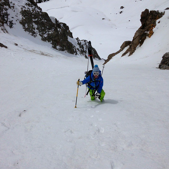 Going up? DPS' @prussell8750 heading up the Lightning Bolt Couloir with his friend Sole. #spring #backcountry #skiing